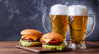 Image of burgers and beer